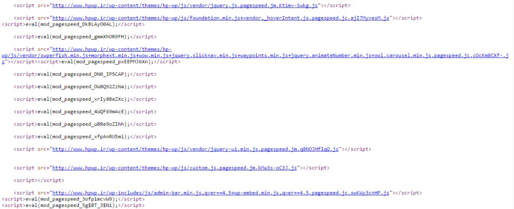 PageSpeed اقدام به بهینه سازی فایل های JavaScript نموده است و آن ها را به صورت خودکار Combine و Minify کرده است و Action های آن را تغییر داده و کدهای اضافی که در وب سایت شما در این صفحه خاص استفاده نمی شوند را غیر فعال نموده است.